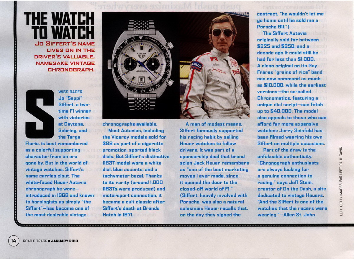 "Road & Track Feature on ""Siffert"" Autavia"