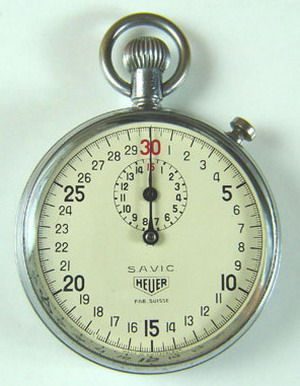 Heuer Stopwatch with SAVIC and Fab. Suisse Marks